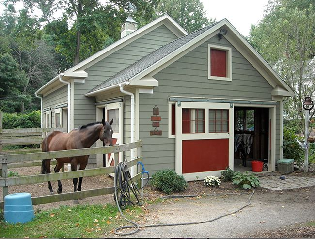 Small horse barn attached to the garage