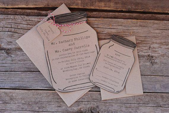 Mason Jar Wedding Invitaiton Suite  RSVP  Save the by postscripts, $2.00