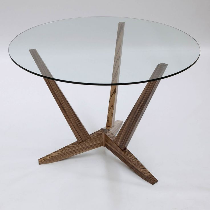 Simple Round Glass Dining Table With Walnut Wood Legs, Inexpensive Modern  Glass Top Dining Tables