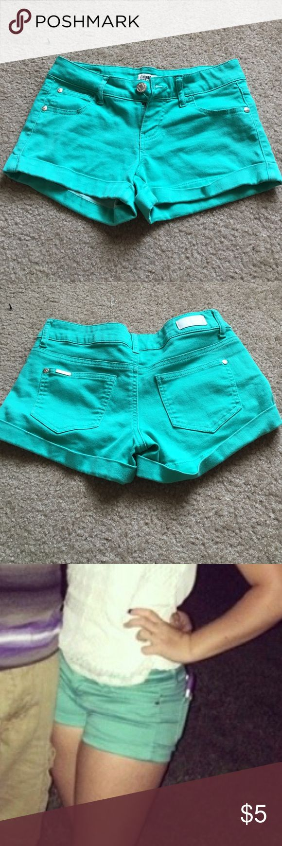 turquoise shorts comfy shorts, great for summer! Celebrity Pink Shorts Jean Shorts