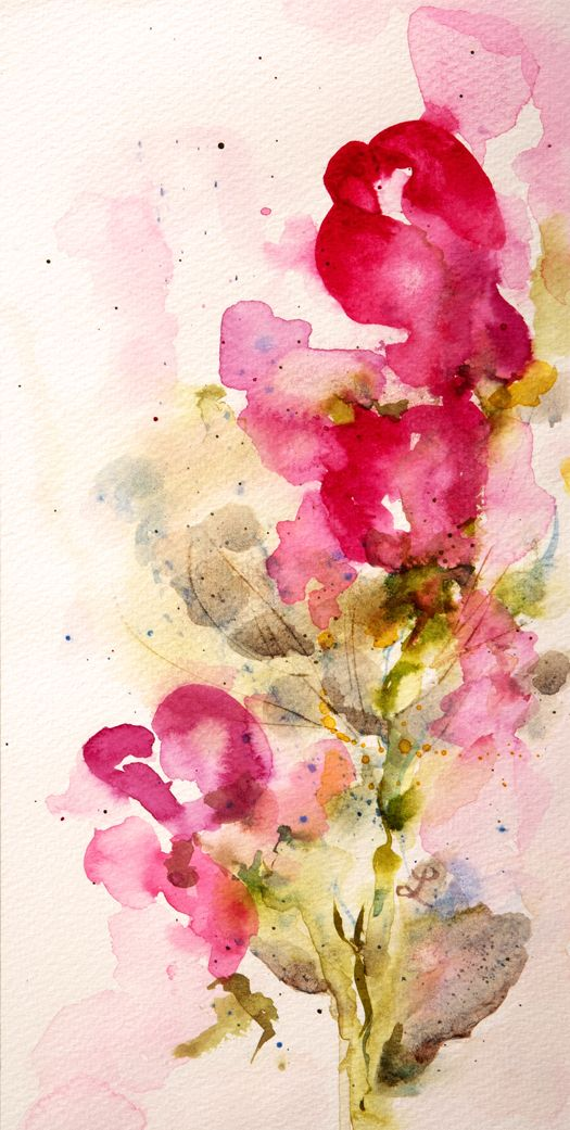 """""""Sweet Peas"""", original watercolors and reproductions by Lynne Furrer at http://www.watercolorbloom.com/"""