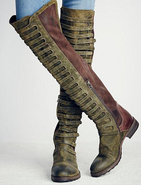 2017 Winter Marke Design frauen Stiefel Aus Echtem Leder Armee Grün Braun Patchwork Wohnungen Oberschenkel Hohe Stiefel Cowboy Vintage Lange schuhe