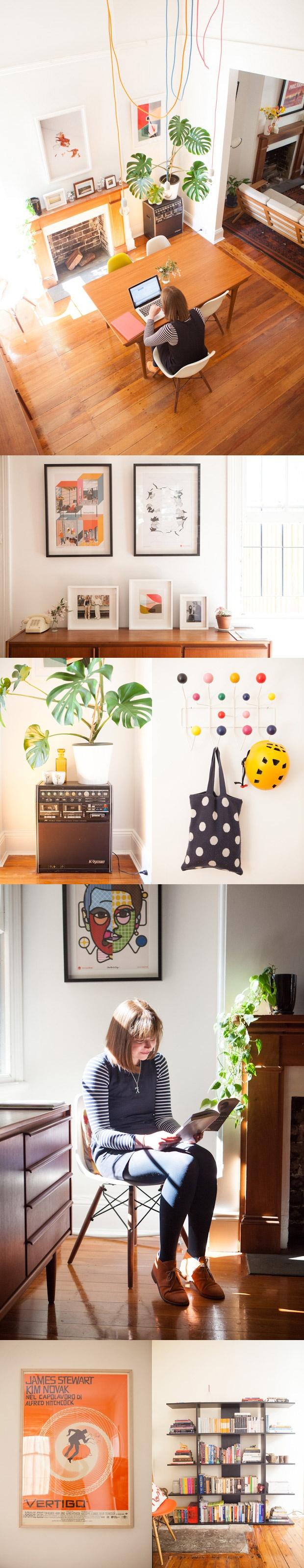 Homes interiors inspiration - Claire Yvonne Evans - Ashka interview #homes #interiors #inspirations #creative #sydney #australia #diningroom #livingroom #homeoffice #workspace #hanginglightbulbs #fireplace #prints #art #midcentury #furnitures #vintage #bookshelf