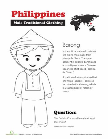 Worksheets: Traditional Filipino Clothing