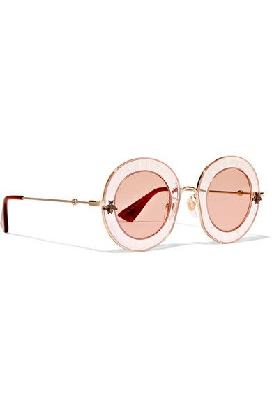 5cee1f64e7e57 Gucci - Round-frame Printed Acetate And Gold-tone Sunglasses - Pink