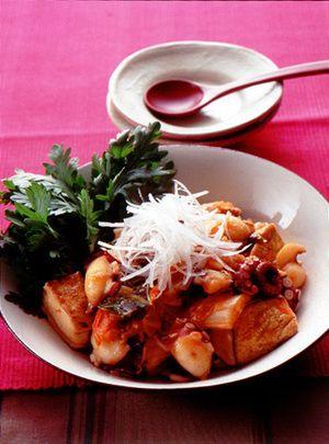 焼き豆腐とたこのキムチ煮 | 栗山真由美さんのレシピ【オレンジページ ...