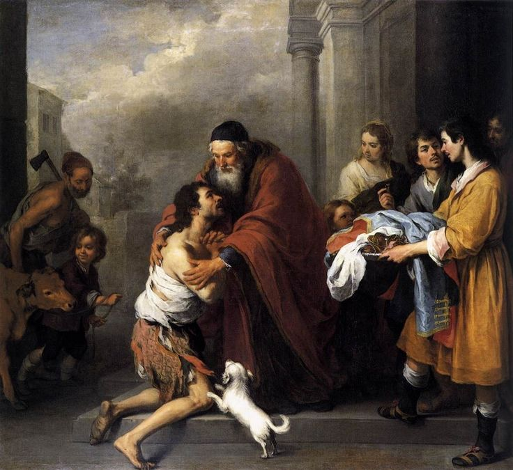 """""""Zechariah calls [the Jewish people], in God's name, to return to him and make their peace with him. 'Turn you to me in a way of faith and repentance, duty and obedience, and I will turn to you in a way of favour and mercy, peace and reconciliation.'"""" Matthew Henry's Commentary On The Whole Bible; Zechariah, page 1578.  Discussing Zechariah 1:3. Painting is """"Return of the Prodigal Son,"""" 1667 - 1670, Bartolome Esteban Murillo, National Gallery Of Art, Washington."""