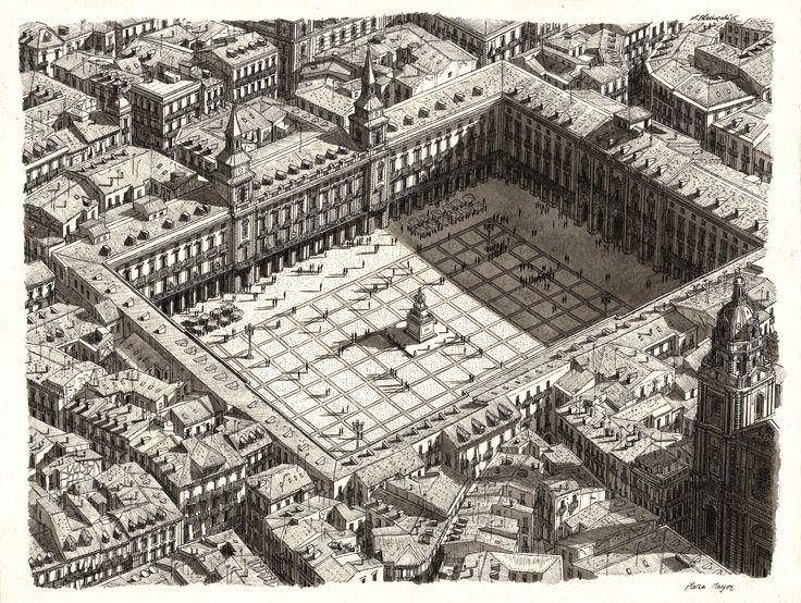Imagen 6 de 10 de la galería de Estos increíbles dibujos de Stefan Bleekrode recrean detallados paisajes urbanos. Plaza Mayor de Madrid. Imagen © Stefan Bleekrode