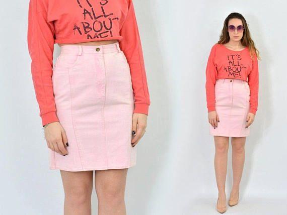 Denim Skirt Pink Pencil Mini salmon jean Vintage schoolgirl