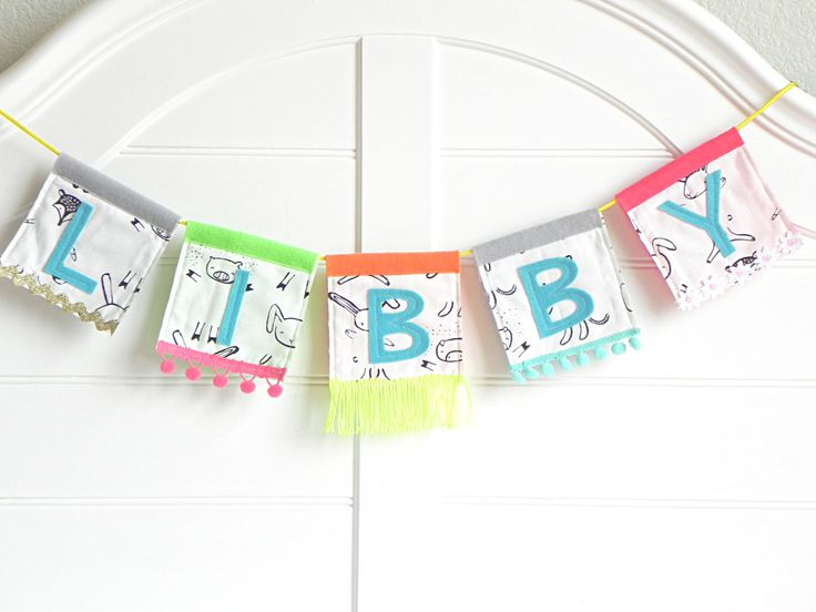 Custom Festival Name Banner / Whimsical and Handmade Name Sign / Name Banner for Nursery / Baby Girl Nursery Decor / Customized Baby Items by AFeteBeckons on Etsy https://www.etsy.com/listing/480251451/custom-festival-name-banner-whimsical