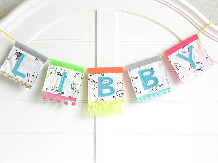 Custom Festival Name Banner / Whimsical and Handmade Name Sign / Name Banner for Nursery / Baby Girl Nursery Decor / Customized Baby Items by AFeteBeckons on Etsy https://www.etsy.com/listing/480251451/custom-festival-name-banner-whimsical
