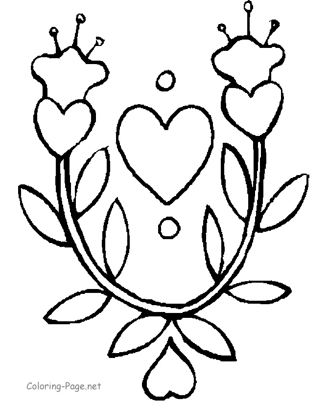 Flowers And Hearts Coloring Page Coloring Sheets Pinterest Hearts And Flowers Coloring Pages