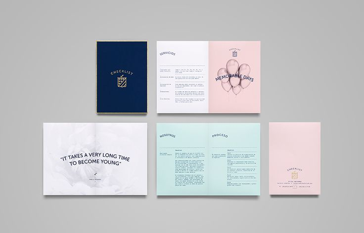 Pamphlet with blue and pink pastel coloured paper and gold foil detail designed by Anagrama for event panner Checklist.