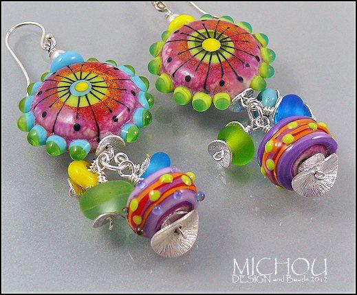 In LOVE with Paris   Handmade lampwork Earrings by MichouJewelry, $119.00