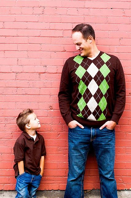 This might look kinda plain to you, but the simple fact of the hands in the pockets got me as does the boy looking up at dad....