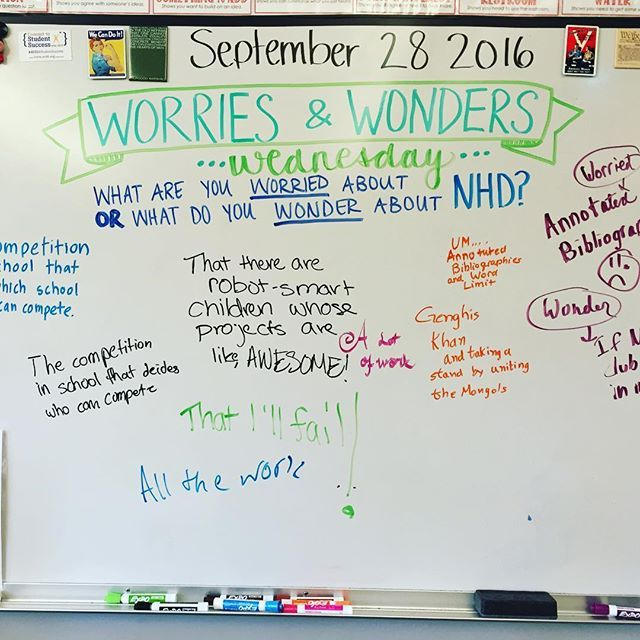 This #whiteboardmessage was great for helping my 8th graders know they're not alone in their worries & wonders about #NHD this year! . . . #miss5thswhiteboard #nationalhistoryday #teachersofinstagram