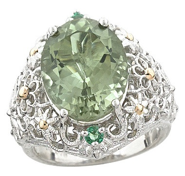 Generations 1912 Sterling Silver & 14K Gold Mint Amethyst and Zambian Emerald Ring 443-270ilovetoshop