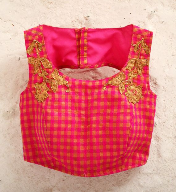 Pink Padded Check Blouse with Gold Floral by Amoristudios on Etsy