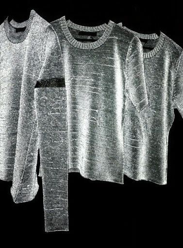 This technical knit is innovative because it transforms in light. Being both reflective as well as transformative.  Dion Lee reflective knit, 2013 resort wear. http://www.timeless-look.com/2013/06/reflective-knits.html