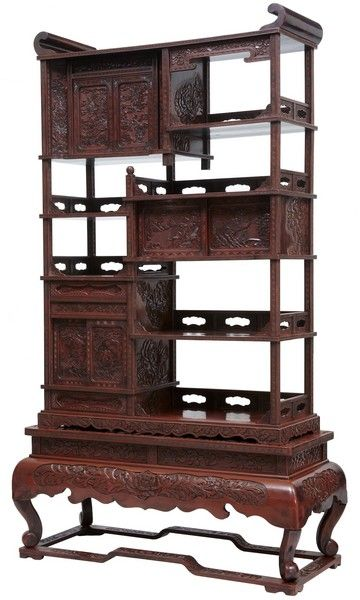 Elegant For Sale On   An All Original Meiji Period Japanese Cabinet Circa Red  Laquer Cabinet Carved On Front And Sides.