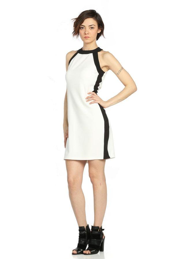 Yani Cizgili Elbise Beyaz Kapida Odemeli Ucuz Bayan Giyim Online Alisveris Sitesi Modivera Cizgili Elbise Elbiseler Elbise