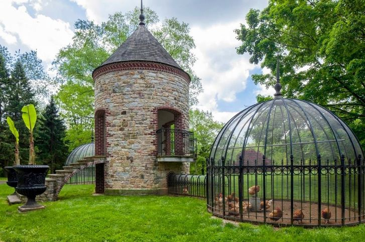 Chicken Coop  -a very snazzy chicken coop at that! Looks like it should be at the Biltmore House!
