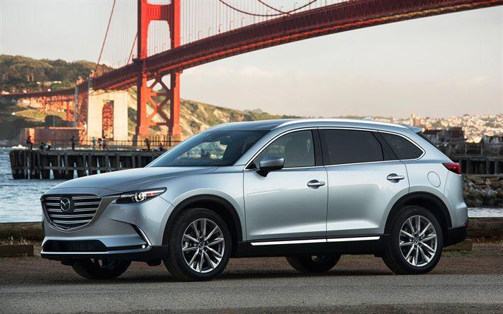 Hämta bilder Mazda CX-9, 2017, SUV, silver CX-9, Japanska bilar, USA, San Francisco, Golden Gate-Bron, Mazda