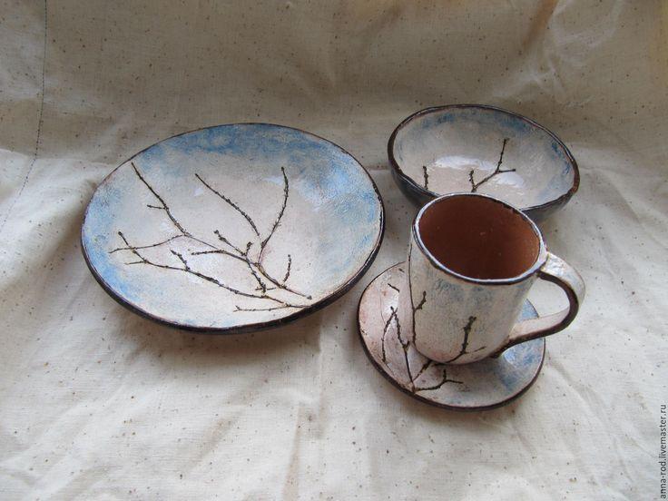 Купить Зимний день - голубой, посуда, сервиз, набор, тарелка, чайная пара, веточка, зима