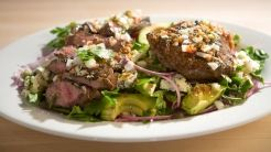 Grilled Flat-iron Steak with Avocado, Tomato, and Red Onion Salad