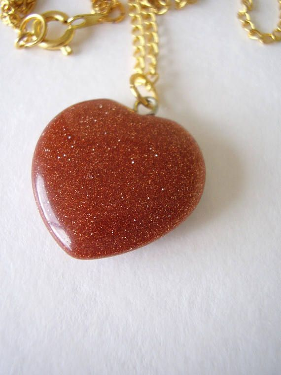 Necklace Brown Goldstone Sparkling Aventurine Glass Polished