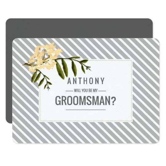 Will you be my Groomsman? Yellow | Green Watercolor Branch Painting with Grey Stripe Pattern Simple and Elegant design Customizable Groomsman to be request flat cards. Matching Wedding Invitations, Save the Date cards, Wedding Postage Stamps, Bridesmaid to be Request Cards, Thank You Cards and other Wedding Stationery and Wedding Gift Products available in the Floral Design Category of the Best Day Ever Store at zazzle.com