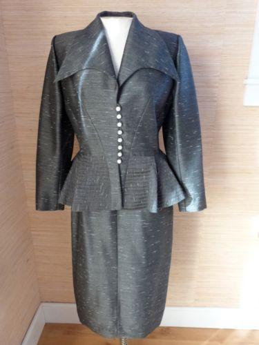 VTG Lilli Ann 40's Tailored Peplum Suit sz XS/S Fabric of France Post War Era