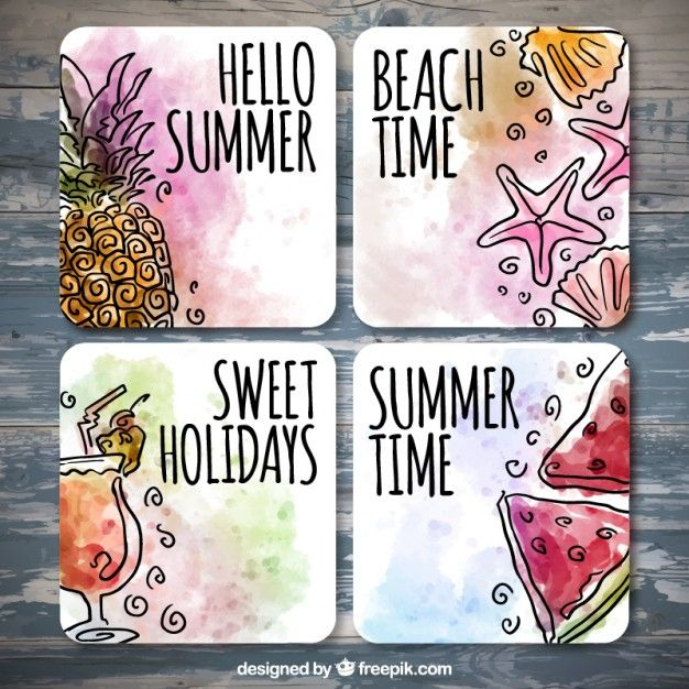 Tarjetas de verano de acuarela con dibujos Vector Gratis
