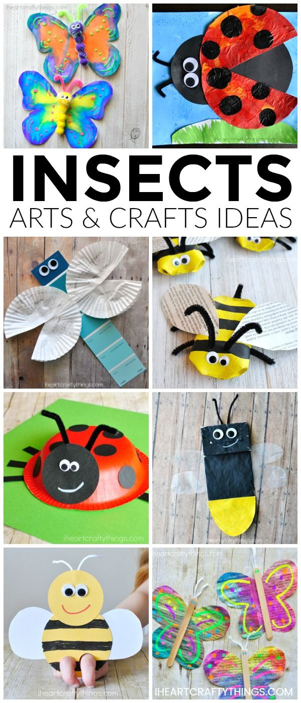 Here are over 25 amazing insects arts and crafts ideas kids of all ages will enjoy. Looking for fun spring kid craft ideas? Check out these creative butterfly crafts, bee crafts, ladybug crafts, dragonfly crafts and lightning bug crafts. #insectcrafts #in