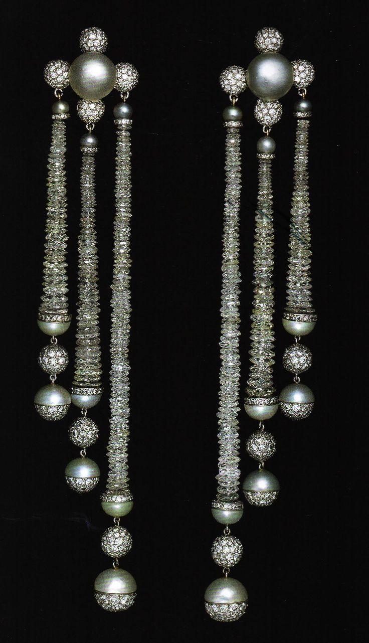Pearl and diamond earrings by JAR