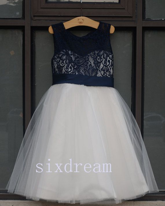 Ivory Dress &Navy blue lace Navy blue ribbon Wedding Flower Girls Dress Tulle Rustic Baby Birthday Dress