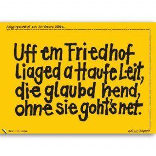 Stickerpostkarte Uff em Friedhof liaged a Haufe Leit, ...