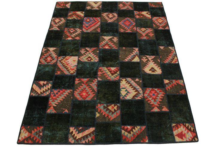 Patchwork Teppich Rosa Oliv in 240x180cm