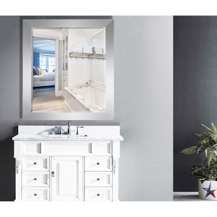Rayne Mirrors US Made Elemental Jaded Platinum Framed Beveled Mirror - Silver (33.5 w x 37.5 l inches.), Size 33.5 w x 37.5 l inches.