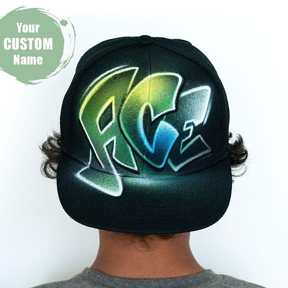 Custom Snap Back Hat With Your Graffiti Name Initials Or Words Hand Painted Baseball Cap Kids Snapback One Size Fits Most Flat Hats Swag Hats Snapback Hats