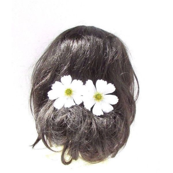 2 X Large White Daisy Flower Chrysanthemum Hair Pins Bridesmaid Floral... ($5.66) ❤ liked on Polyvore featuring accessories, hair accessories, grey, hair pins, white flower hair accessories, white hair accessories, bohemian hair accessories, bride hair accessories and bridal hair pins