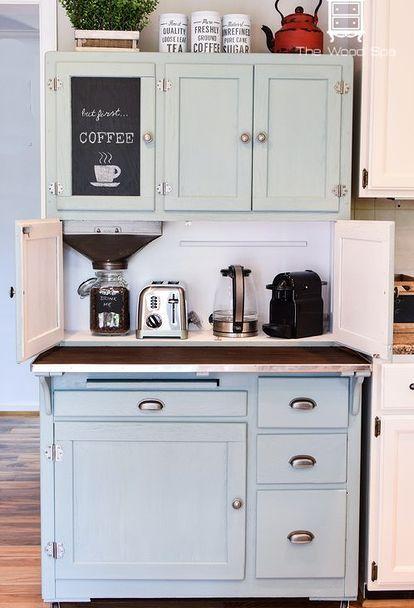 hoosier cabinet made into a coffee bar hoosier cabinet kitchen cabinets coffee bar home. Black Bedroom Furniture Sets. Home Design Ideas