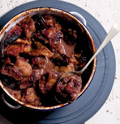 Pot-roasted sticky oxtail with port and dried fruits. If you double this do not double the fruit or the liquid. It becomes very sweet. Also cook for longer for fall off the bone stuff.
