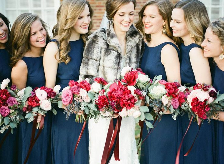 winter wedding  marsala and white wedding bouquet  red and white wedding bouquets  navy bridesmaids dresses