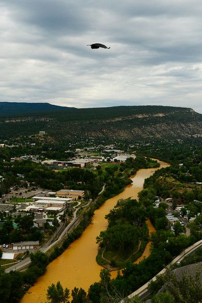 The Animas River flows through the center of Durango on August 7, 2015 along Animas River. Over a million gallons of mine wastewater has made it's way into the Animas River closing the river and put the city of Durango on alert. (Photo By Brent Lewis/The Denver Post)