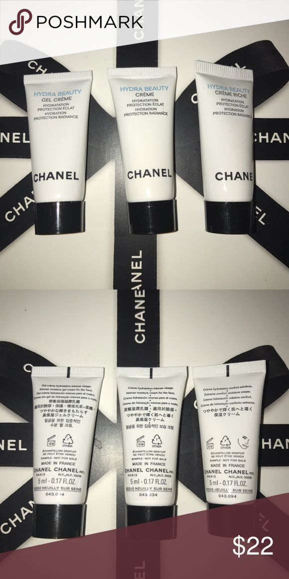 CHANEL MOISTURIZER SET Brand new and authentic Chanel Hydrating moisturizers in three different textures. From light to thick. Use in the morning and evening as an essential step of your HYDRA BEAUTY ritual. Price for full size for each 87$ x 3= 261$. CHANEL Makeup