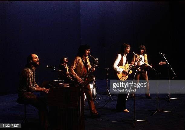 Moody Blues perform on stage LR Mike Pinder Graeme Edge Ray Thomas Justin Hayward John Lodge