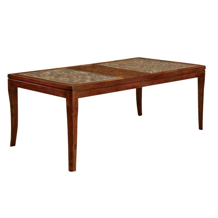 Sun & Pine Coconut Shell Inserted Wood 78 Dining Table Wood/Dark Oak