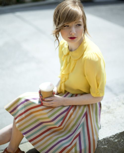 San Francisco.: Outfits, Fashion, Natural Colors, Modcloth Style, Rainbows, Stripes Skirts, Modcloth Com, Bright Colors, Yellow Blouse