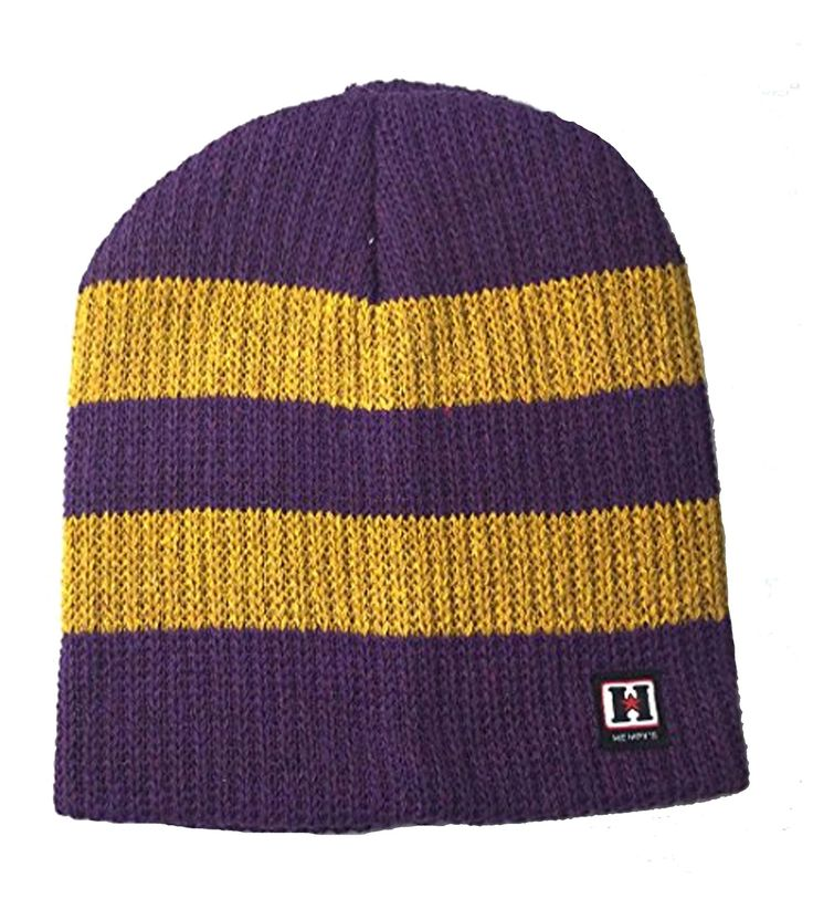 Recycled Cotton and Hemp Wallaby Rugby Beanie (Purple & Gold)